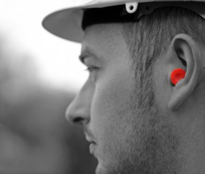 ear protection on a construction worker
